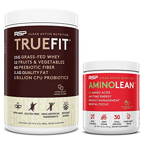TrueFit Protein Powder (Chocolate 2 LB) with AminoLean Pre Workout Energy (Strawberry Kiwi 30 Servings)