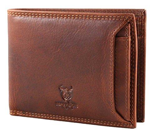 MATADOR Echt Leder Kreditkartenetui RFID & NFC Schutz Ausweis-Etui Ausweismappe Ausweiß-Tasche Vintage Braun Fahrzeugschein Ausweiss-Hülle Scheinfächer Hochformat
