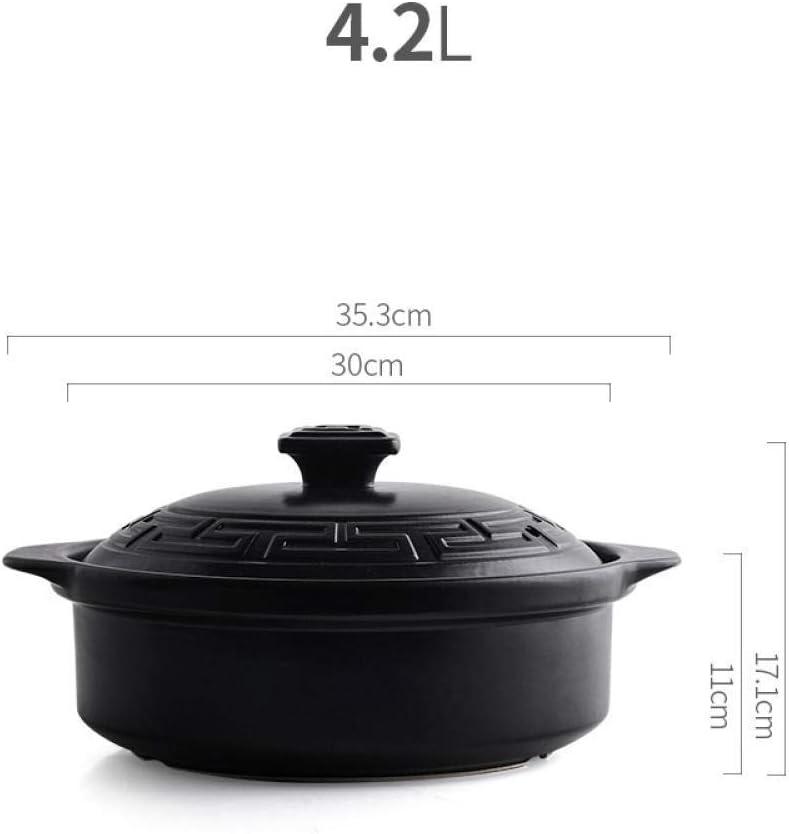 LIUSHI Casserole avec Couvercle Casserole - Casserole Pot à ragoût Gaz Domestique Pot à Soupe en céramique Pot en Pierre résistant à la Chaleur Casserole à Soupe-4.2L 4.2l