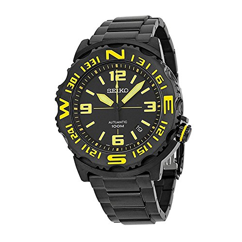 Seiko Automatic Compass Bezel Black Ion-plated Mens Watch SRP449