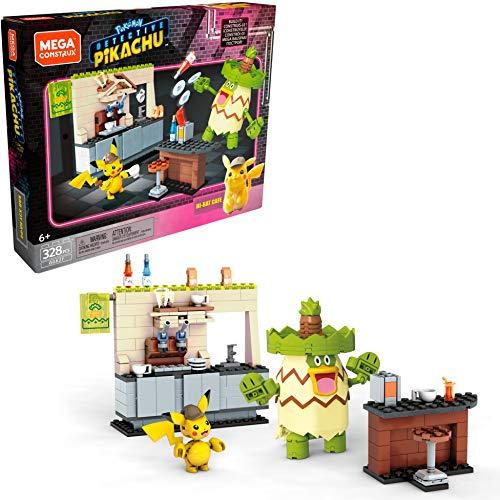 Mega Construx Detective Pikachu Hi-Hat Café, Juguete de Construcción de la Película para Niños +6 Años (Mattel GGK27)