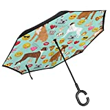 Pillow Bags Boxer Emoji Cute Funny Dog Breed Fabric Mint_3600 Inverted Umbrella Cars Reverse Umbrella Music Notes Vintage Windproof UV Proof Travel Outdoor Umbrella