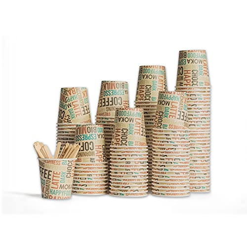HAPPYFOOD 100 Bicchierini Carta Caffe + 100 Palette legno imbustate singolarmente - 110 ml 4 oz Biodegradabili bastoncini monouso usa e getta bio per Caffè espresso Ginseng - Packaging eco