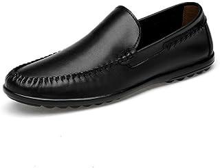 メンズレザーシューズ、メンズブリティッシュビジネスカジュアルシューズ、レジャー通気性怠惰靴、フォーマルなビジネスワークス快適なモカシン、ドライビングシューズ (Color : ブラック, Size : 42)