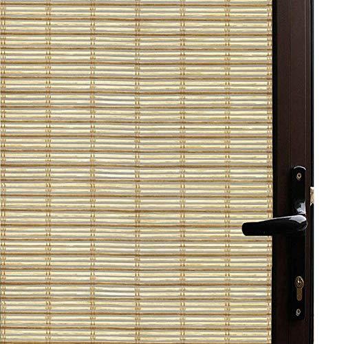 Qualsen Window Film Bamboo Static Decorative Privacy Window Films Non-Adhesive Anti Uv Window Sticker for Home Kitchen Bedroom Living Room (35.4 x 78.7inch)