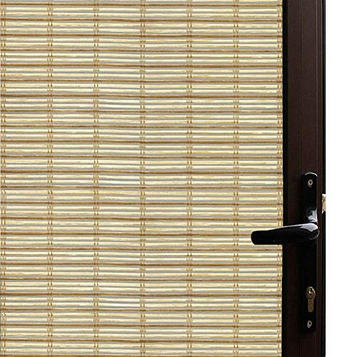 Qualsen Window Film Bamboo Static Decorative Privacy Window Films Non-Adhesive Anti Uv Window Sticker for Home Kitchen Bedroom Living Room (23.6 x 78.7inch)
