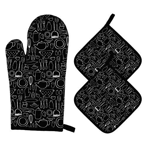 MengH-SHOP Ofenhandschuhe und Topflappen Set Backhandschuhe Hitzebestaendig 1Topfhandschuhe und 2 Topflappen Kochhandschuhe für Küche Kochen Backen BBQ Grillen 3 Stück (Schwarz)