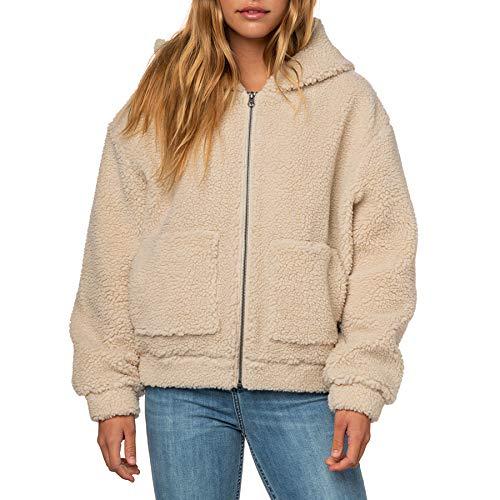 Rip Curl Saska - Chaqueta de forro polar con cremallera y capucha para mujer gris XS