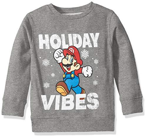 Nintendo Boys' Ugly Christmas Crew Sweatshirt, Vibes/Medium Heather Grey, Small (6/7)
