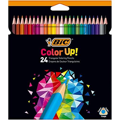 BIC Intensity Triangle Lápices de Colores, Mina de 1.3 mm, Resina sin Madera, Resistente a los Golpes - Varios Colores, Pack de 24