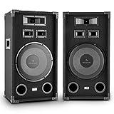 AUNA PA-1200 Set Coppia Casse Altoparlanti Audio Fullrange a 3 vie (2 x 500 Watt, Bass-Reflex, Woofer da 12' (33 cm), maniglie laterali)