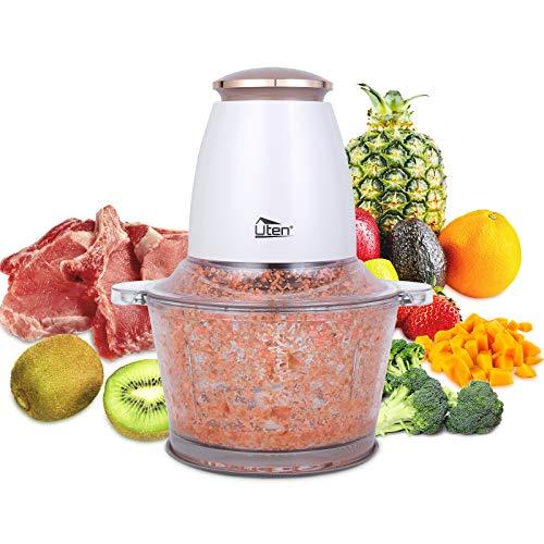 Uten Zerkleinerer Elektrisch 400W elek Gemüseschneider/Zwiebelschneider/1.5L Glasbehälter/Impuls/Spritzfest Fleischwolf mit 4-flügeliges Edelstahlmesser für Fleisch, Smoothie,Zwiebeln, Obst, Gemüse