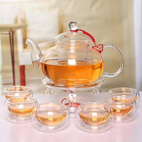 Beddingleer Teekanne aus Glas 600 mL Teebereiter + 6 Tea Tassen + Wärmer mit Glasfilter und Glasdeckel aus hochwertigem Borsilikatglas