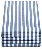 ZOLLNER Set de 5 paños de Cocina a Rayas Azules, algodón, 50x70 cm