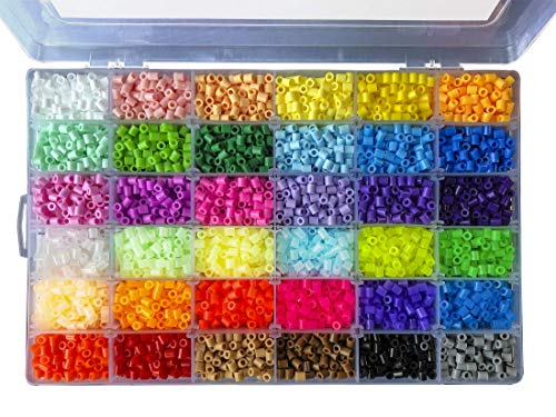 La Manuli Assorted Fuse Beads Kit - 11000 Pieces 5 mm 36 Colours Ironing Beads Set by Hama Beads Compatible Glow in the Dark Puzzle Children Safety Beads Iron Beads Transparent Plastic Box