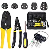 Hilitchi 4 Pcs Wire Crimping Tool Kit Terminal Ratchet Plier with 5 Interchangeable Dies, Wire Cutter/Stripper, Screwdriver, Terminal Removal Tool Key for Insulated Non-insulated Terminals or Ferrules