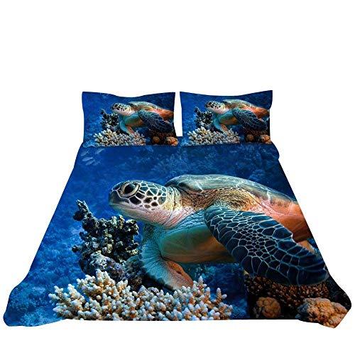 Loussiesd Set copripiumino matrimoniale Sea Animasl con stampa digitale a tema oceano vita marina decorativo in microfibra poliestere con 2 federe per cuscini, chiusura lampo, blu, 3 pezzi
