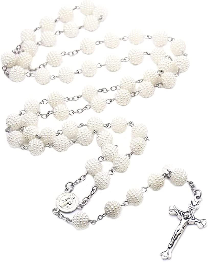 BUZHI Rosary Necklace,White Pearl Beads 10mm Catholic Rosary Necklace for Women Girl Christian Jewelry Gifts