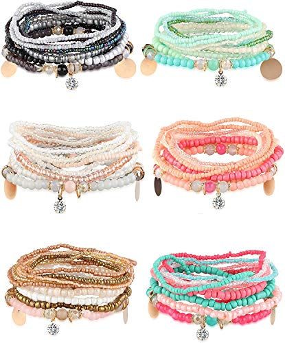 YADOCA 6 Ensembles Bracelets de Perles Empilables Bohème pour Femmes Filles Stretch Bangles Style Bohème Stretch Multilayered Bracelet Set Bijoux Multicolore