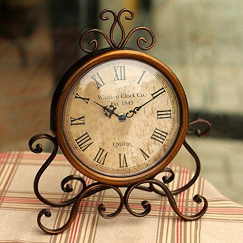 AISSION Wall Clock Reloj de sobremesa Mesa Vintage Estantería Metálica no Reloj Reloj Antique Home Decor