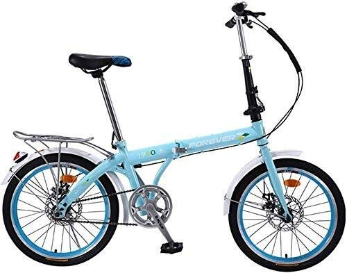 TANGIST Kids' Bikes Foldable Bicycle Outdoor Children's Bicycle Summer Travel Mountain Bike 16/20 Inch Boy and Girl Bicycle Ultra-Light Portable Speed Adjustable (Color : Blue, Size : 20inch)