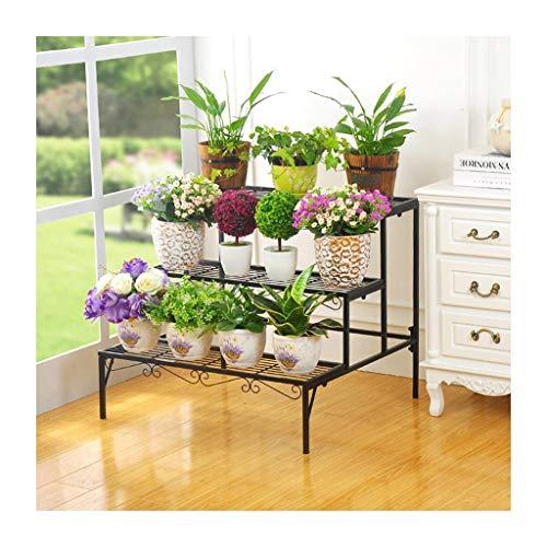 ZRHJ 3 Laag Bloem Display Rack, Bloem Opslag Organisatie Planken, Metaal Potted Ladder Opslag Rack, Plant Rack Potted Stand, Binnen Bloem Decoratieve Houd Zwart
