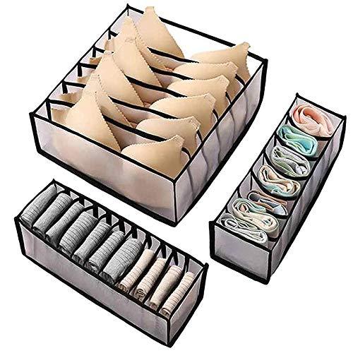 Mefeny Juego de 3 piezas de caja de almacenamiento plegable para ropa interior con 6/7/11 cajón, divisor para dormitorio, ahorro de espacio, bolsa organizadora negra