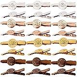 SUNNYCLUE 24 Stück 4 Farben Haarspangen Tablett Lünette Blank Haar Zubehör Snap Haar Spangen DIY Findings für Frauen Make-up Haar Styling