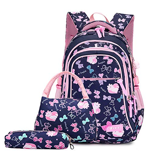 Neusky Schulrucksack Schulranzen Schultasche Sports Rucksack Freizeitrucksack Daypacks Backpack für Mädchen Jungen & Kinder Jugendliche mit der Großen Kapazität (Dunkelblau Set)