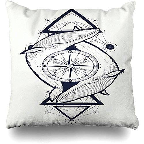 Hangdachang Ocean Hipster Two Whales Rose Compass Tattoo Geometric Coloring Wildlife Adventure Travel Wave Pillowcase Decorative Pillow Standard Cushion Cover Gift 18 X 18 Inch
