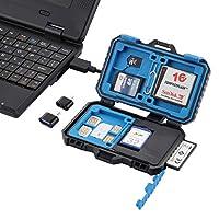 Finnart カードリーダー+ 22 in 1メモリカードケース(1SIM + 2Micro-SIM + 2Nano-SIM + 3CF + 7SD + 6TF + 1CARD PIN) 22枚収納可能 OTG機能付き 保護装置 耐磁 耐衝撃防水カードケース3 in 1 USBケーブル:USB 3.0 +マイクロUSB 2.0 +タType-CマイクロUSB 3.0付 Micro SDカードケース SDカードホルダー メディアケース カードカバ カードバック