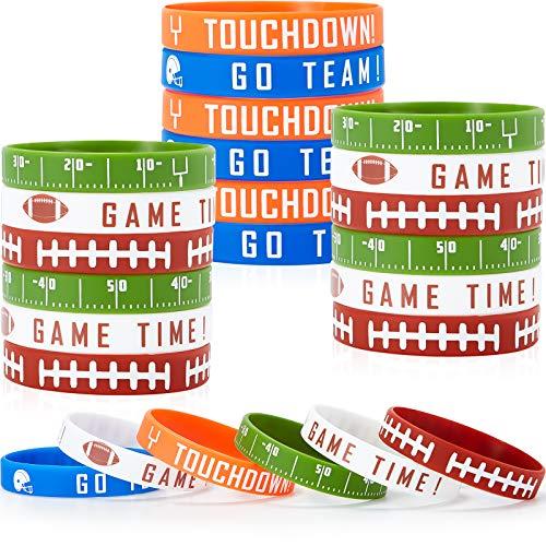 35 Pieces Football Silicone Bracelet Motivational Rubber Wristbands Rugby Silicone Wristband for Sport Themed Football Themed Birthday Party Award Gift