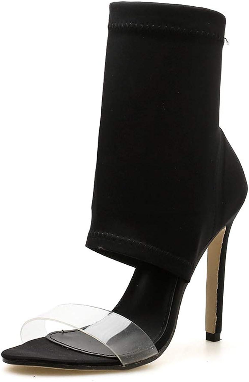 Women's Sandals Summer Transparent Elastic Cloth Stiletto shoes, Sandals Women Fashion Open Toe High Heel Sandals Ankle Wrap Sandals,Black,6.5US