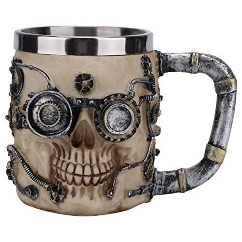 Toyvian Halloween Bierkrug Skelett Schädel Tasse Harz Gothic Horror Totenkopf Kaffeetasse Drinkware Becher für Getränke Kaffee Halloween Karneval Party Geschenke Tischdeko