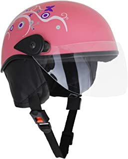 Sage Square Scooty Half Helmet for Men, Women (Medium, Pink Glossy Sticker Design 2)