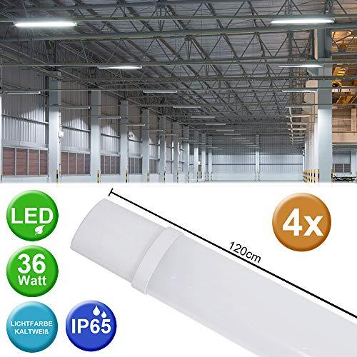 4er Set 36 Watt LED Wannen Decken Lampen Industrie Nassraum Strahler 6500 Kelvin Werkstatt Leuchten