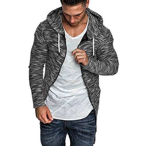 MAYOGO Herren Strickjacke Full-Zip Basic Kapuzen Cardigan Knitted Hoode Sweatshirt Open Jacke Sweatblazer Hoodie Kapuzenjacke Große Größen M-5XL