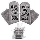 Wein Socken mit lustigen Worten,If You Can Read This-Funny Zubehör für sie, Geschenk für Frau,Geschenke für Frauen (1), grau