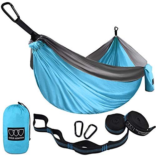 Gold Armour Camping Hammock - USA Brand Single Parachute Hammock (2 Tree Straps 10 Loops/20 ft Included) Lightweight Nylon Portable Adult Kids Best Accessories Gear (Sky Blue/Gray)