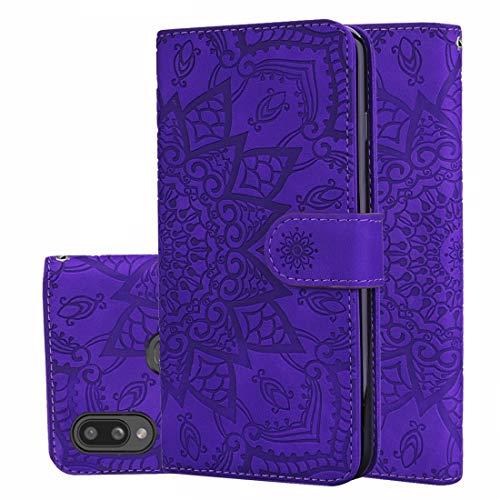 YANTAIANJANE Estuches de Cuero de teléfono Patrón de la Pantorrilla Mandala Diseño Plegable Doble Estuche de Cuero Repujado con la Billetera y el sostenedor y Ranuras for Tarjetas (Color : Púrpura)