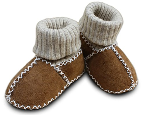 Erstlingsschuhe Baby Lammfellschuhe Strümpfe Socken (16/17, camel)