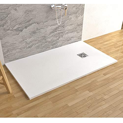Piatto doccia in marmoresina con piletta di scarico effetto pietra (80 x 120, Bianco)