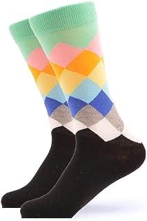 Calcetines De Algodón para Hombres Medias Casuales Rayas Coloridas Patrón De Cuadros Regalos De Fiesta De Confort Calcetines Felices