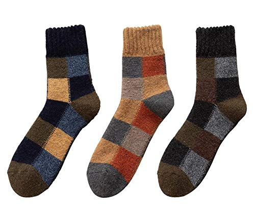 Jingyun 3 Paar Herren Herbst Winter Socken Warme Fluffing Socken Klassische Bequeme weiche Socken B01
