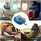 SilverRack Memory Foam Reise Nackenkissen (blau) als Nackenhörnchen - Flugzeug Kissen für erholsames und entspanntes Reisen - Praktisches Travel Pillow Reisekissen für Kinder und Erwachsene - 5