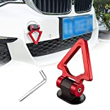 TOMALL Red Car Tow Hook Universal Decorative V Shape Racing Style Trailer Hook Sticker for Car Bumper (ONLY Decoration)