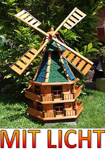 BTV Große Windmühle,Windmühle für Garten, windmühlen Garten, WMB140160gr+bl-EMS grüngrau blau Mühlen Mühle aus Holz braun mit Solarbeleuchtung
