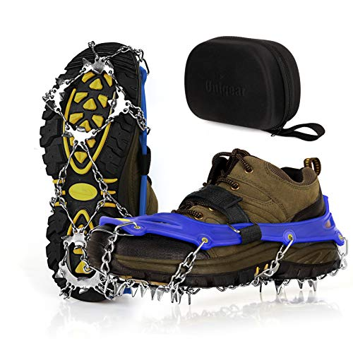Unigear Ice Cleats Snow Traction Cleats Crampons for Shoes and Boots with 19 Stainless Steel Spikes for Walking Hiking Fishing and Climbing Blue Medium