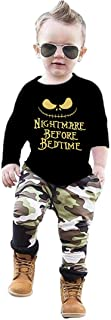 Toddler Baby Boys Clothes 2PCs Outfit Set Nightmare Printing Long Sleeve and Camouflage Pants Clothing Set 0-6T Kids Clothes