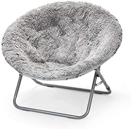 Best Urban Shop Oversized Mongolian Saucer Chair, Silver